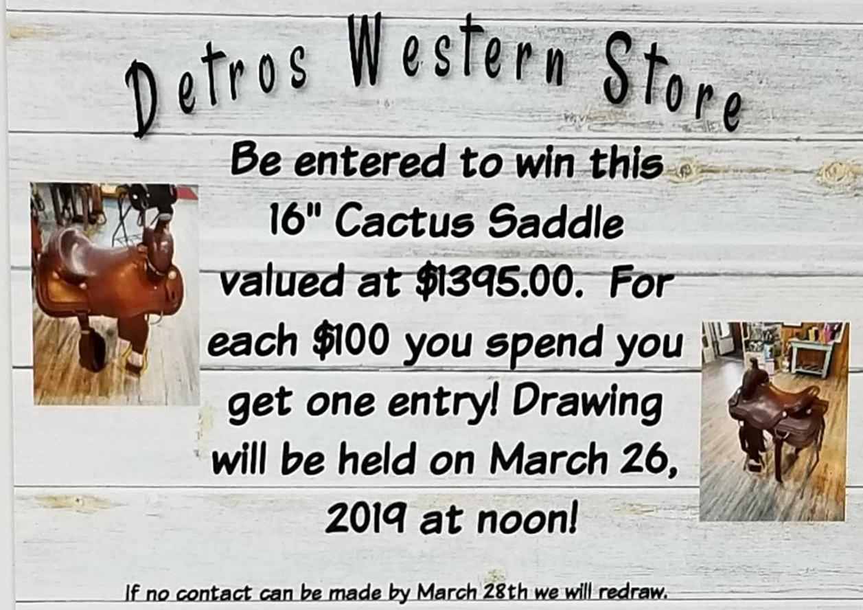 Detros Western Store 16 Inch Cactus Saddle Saddlery Tack Horse Equipment Horse Riding